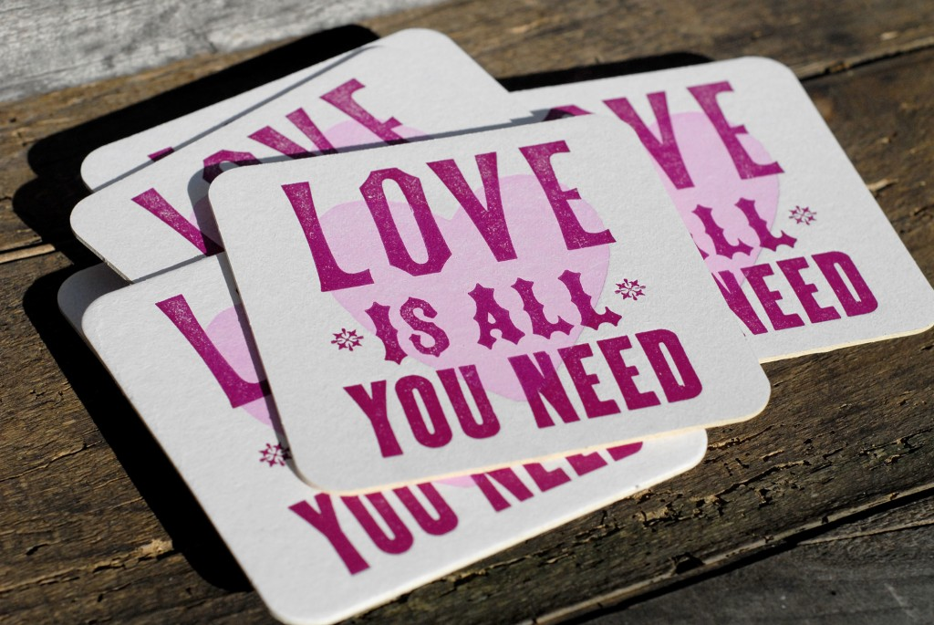 2-color handmade letterpress coaster